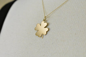 14K Yellow Gold Clover Shamrock Pendant Charm Engraved Personalized Monogram