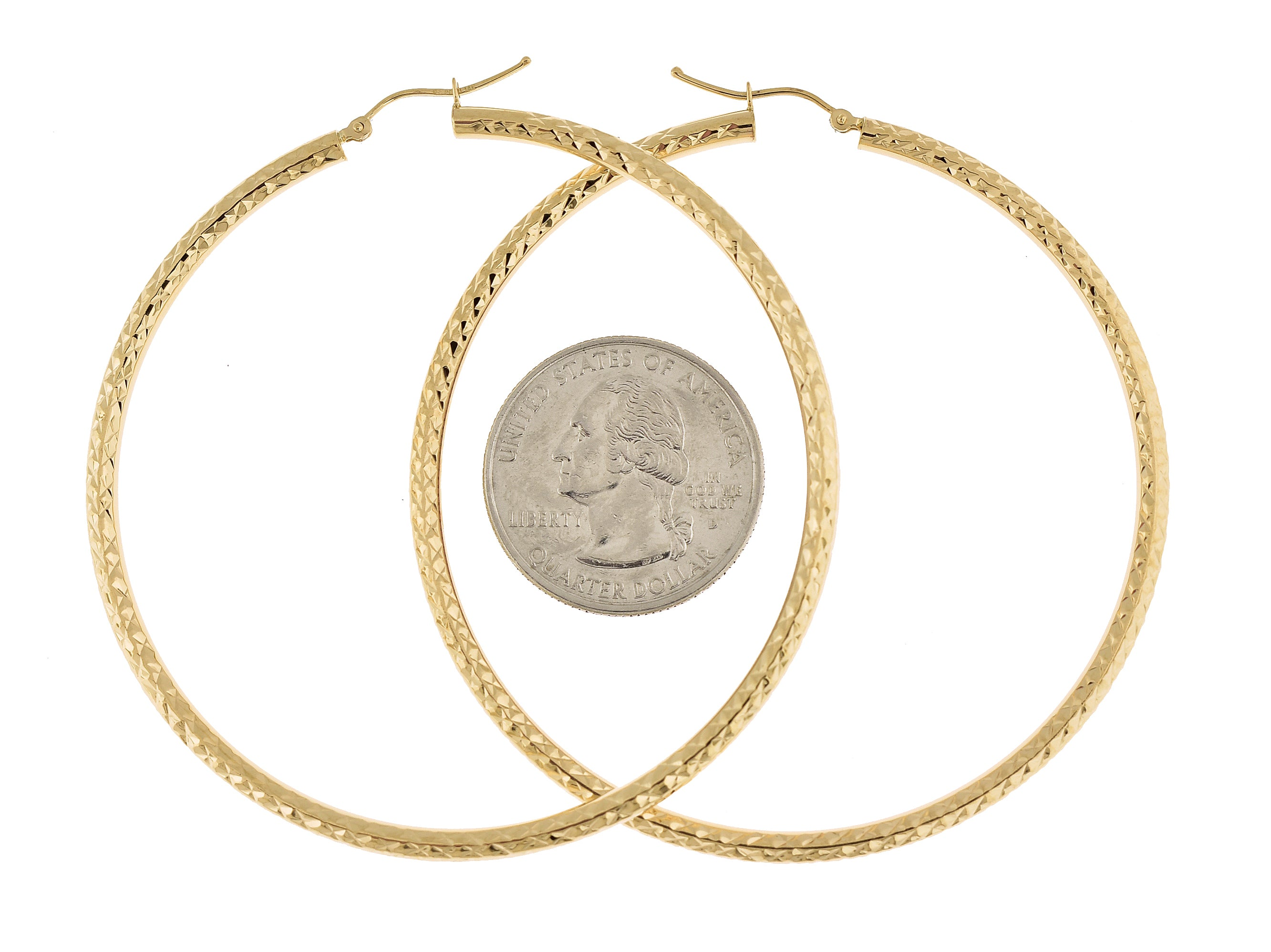 14K Yellow Gold 2.56 inch Diameter Large Diamond Cut Round Classic Hoop Earrings 65mm x 3mm