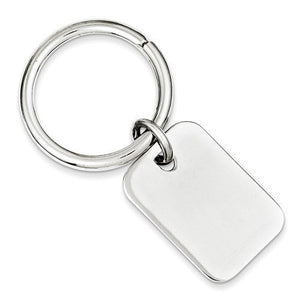 Engravable Sterling Silver Rectangle Key Holder Ring Keychain Personalized Engraved Monogram