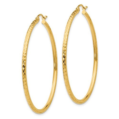 14k Yellow Gold Diamond Cut Classic Round Hoop Earrings 45mm x 2mm
