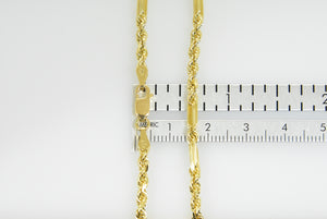 14K Yellow Gold 3mm Diamond Cut Milano Rope Bracelet Anklet Necklace Pendant Chain