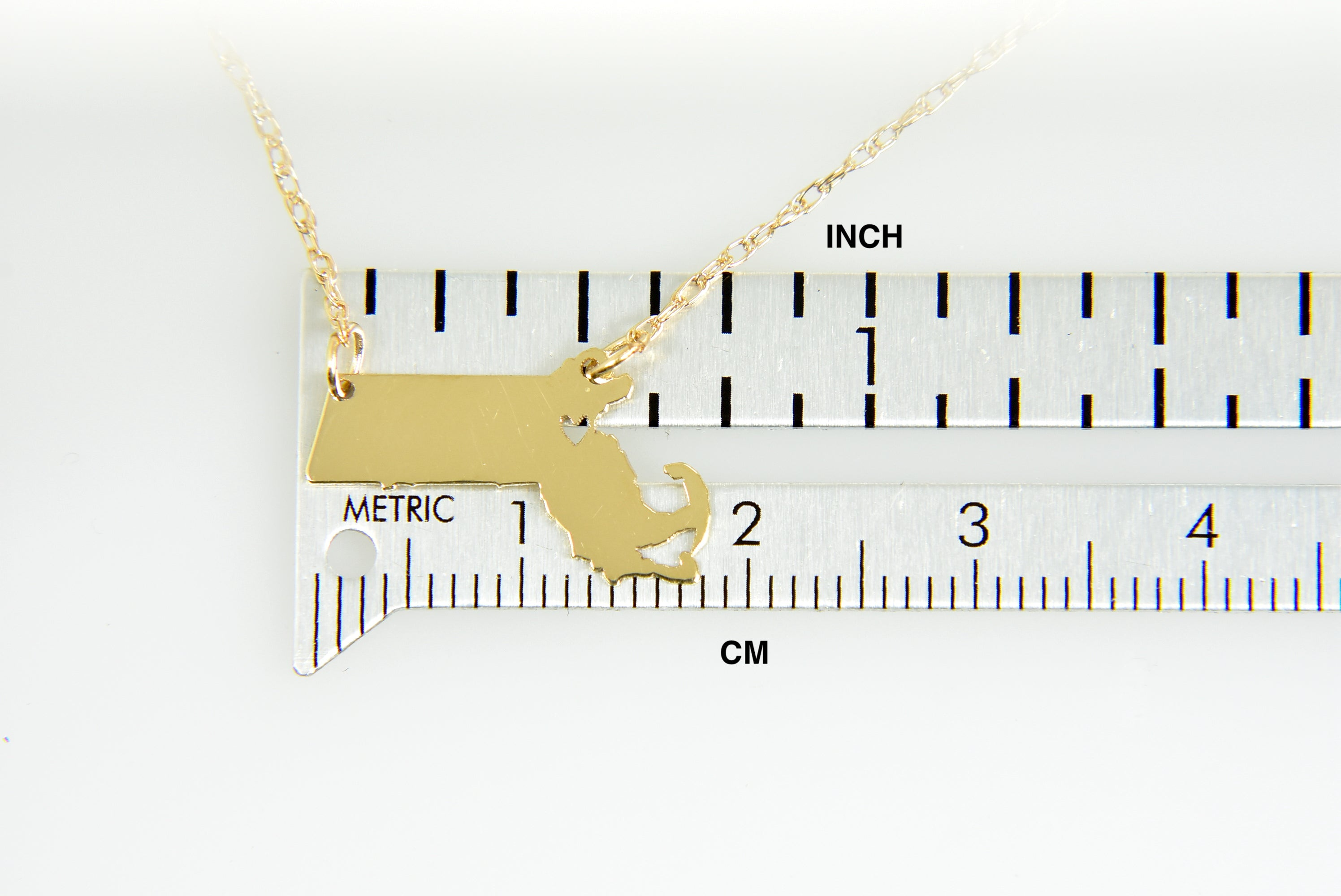 14k Gold 10k Gold Silver Massachusetts State Map Necklace Heart Personalized City