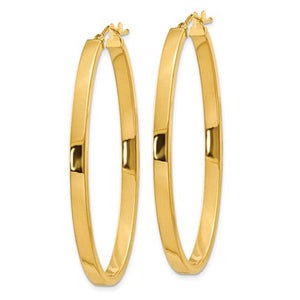 14k Yellow Gold Classic Large Oval Hoop Earrings 40mm x 23mm x 3mm