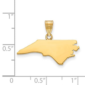 14K Gold or Sterling Silver North Carolina NC State Map Pendant Charm Personalized Monogram