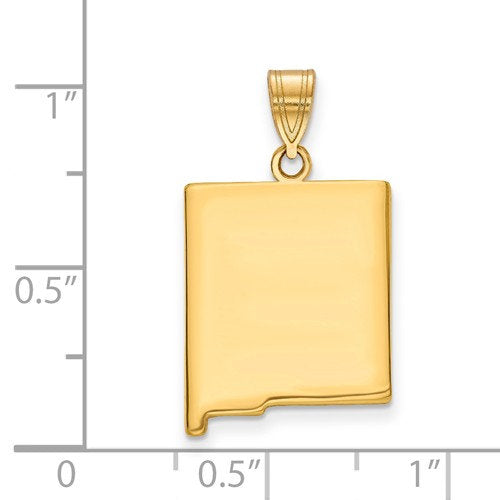 14K Gold or Sterling Silver New Mexico NM State Map Pendant Charm Personalized Monogram
