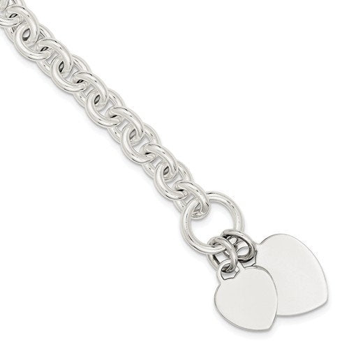 Sterling Silver Double Heart Tag Fancy Link Toggle Bracelet Necklace Custom Engraved Personalized Monogram