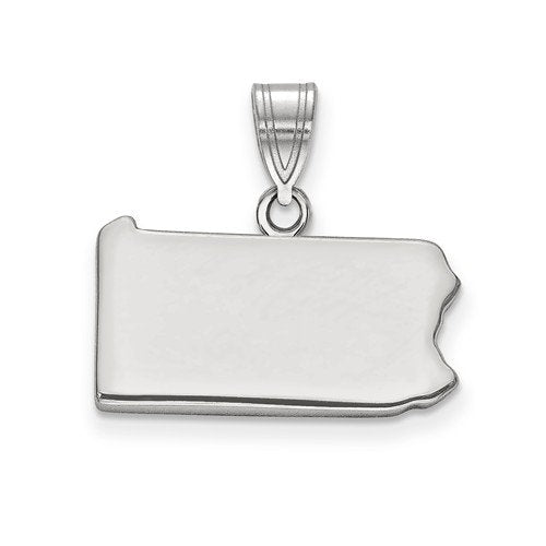 14K Gold or Sterling Silver Pennsylvania PA State Map Pendant Charm Personalized Monogram