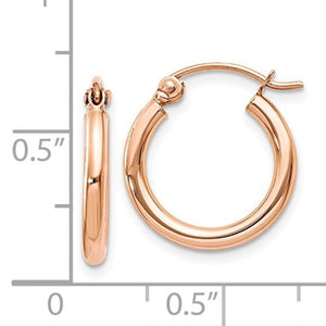 14K Rose Gold Classic Round Hoop Earrings 14mm x 2mm