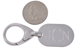 Engravable Sterling Silver Key Holder Ring Keychain Personalized Engraved Monogram