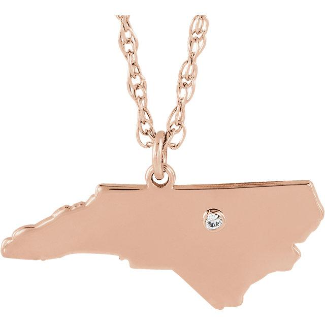14k 10k Yellow Rose White Gold Diamond Silver North Carolina NC State Map Personalized City Necklace