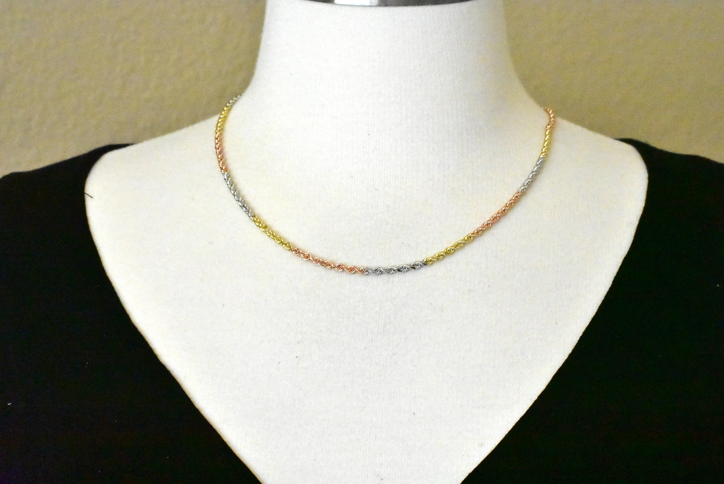 14K Yellow White Rose Gold Tri Color 3mm Diamond Cut Rope Bracelet Anklet Choker Necklace Chain