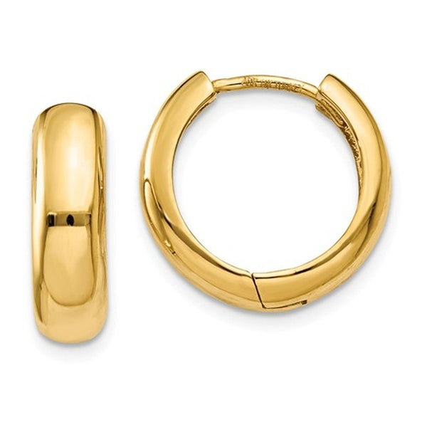 14k Yellow Gold Classic Huggie Hinged Hoop Earrings 15mm x 15mm x 4mm