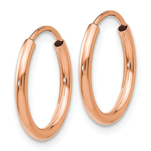 14k Rose Gold Classic Endless Round Hoop Earrings 13mm x 1.5mm