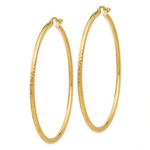 14k Yellow Gold Diamond Cut Classic Round Hoop Earrings 55mm x 2mm