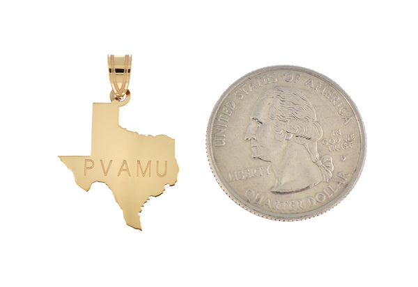 14K Gold or Sterling Silver Texas TX State Map Pendant Charm Personalized Monogram