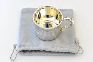 Sterling Silver Baby or Child Beaded Cup Heirloom Gift Engraved Personalized Monogram