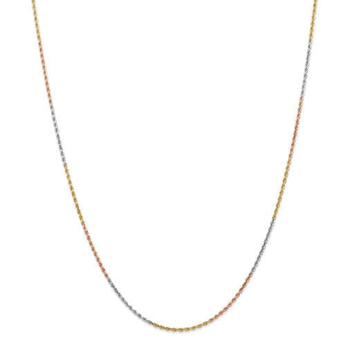 14K Yellow White Rose Gold Tri Color 1.5mm Diamond Cut Rope Bracelet Anklet Choker Necklace Chain