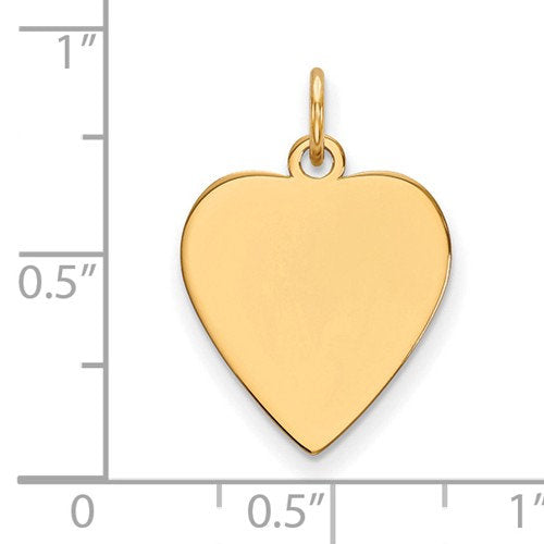 14k Yellow Gold 14mm Heart Disc Pendant Charm Personalized Monogram Engraved