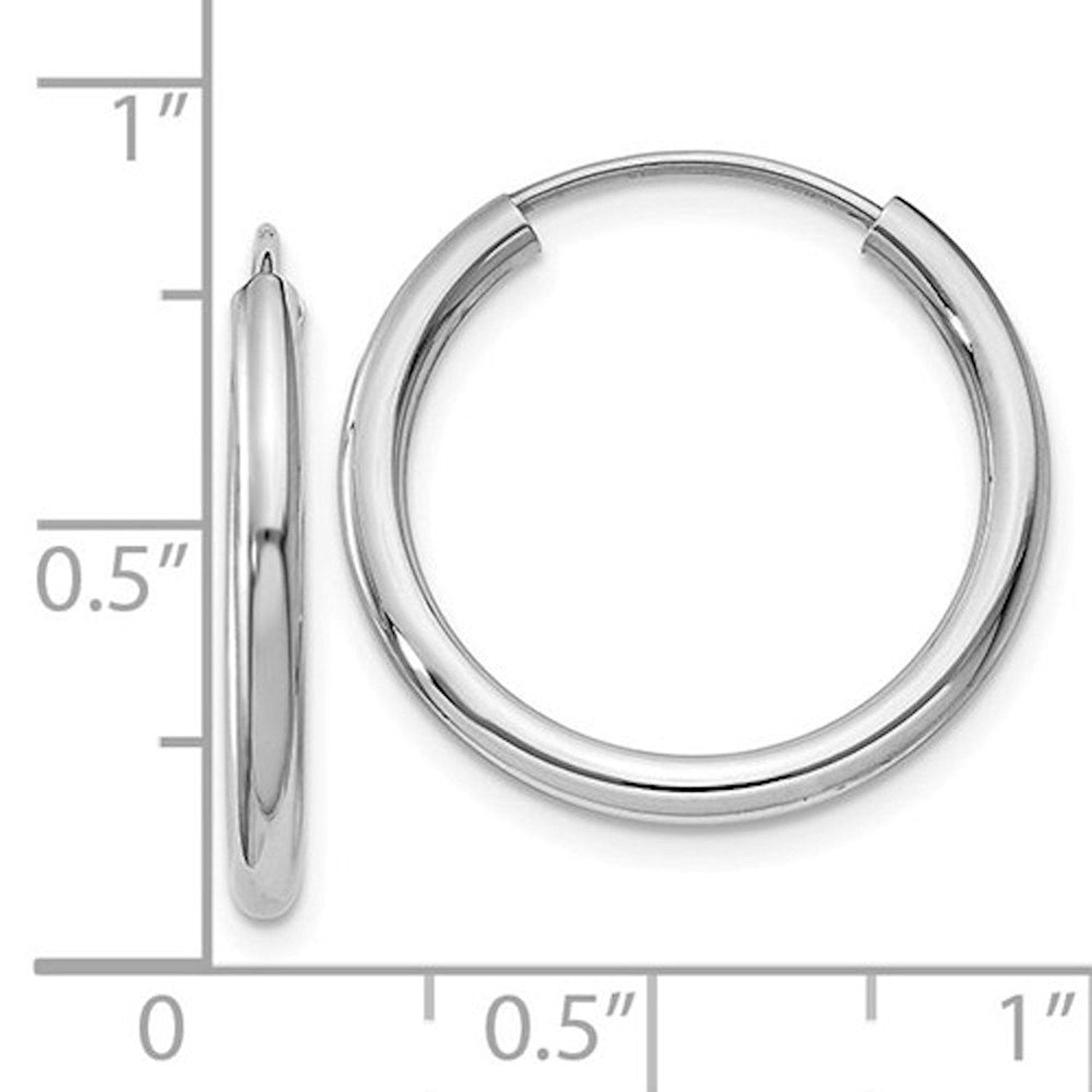 14k White Gold Round Endless Hoop Earrings 19mm x 2mm