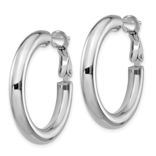 14k White Gold Round Omega Back Hoop Earrings 28mm x 4mm