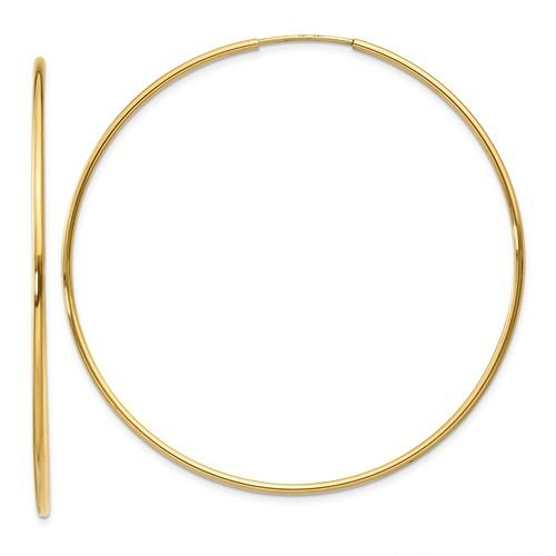 14k Yellow Gold Extra Large Endless Round Hoop Earrings 52mm x 1.25mm