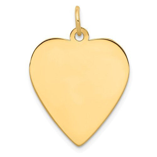 14k Yellow Gold 18mm Heart Disc Pendant Charm Personalized Monogram Engraved