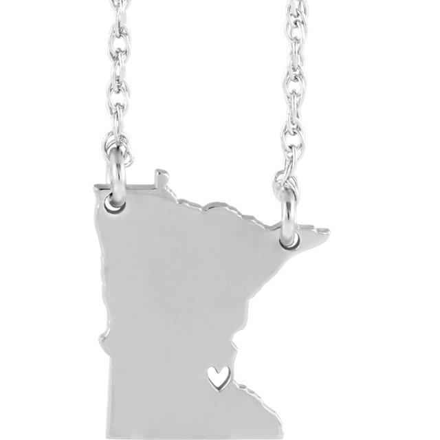 14k Gold 10k Gold Silver Minnesota MN State Map Necklace Heart Personalized City