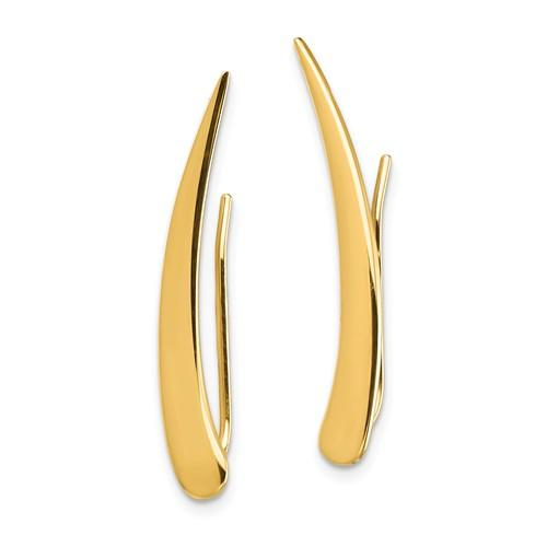 14k Yellow Gold Geometric Geo Style Fancy Pointed Ear Climber Earrings