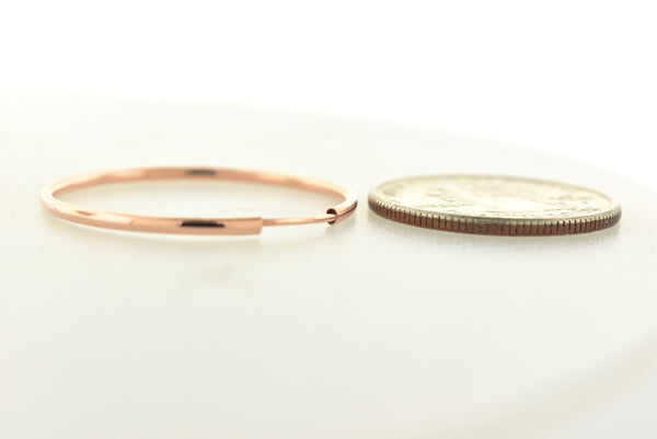 14k Rose Gold Classic Endless Round Hoop Earrings 30mm x 1.5mm