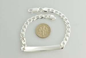 Solid Sterling Silver Engravable Curb Link ID Bracelet Engraved Personalized Name Initials Dates