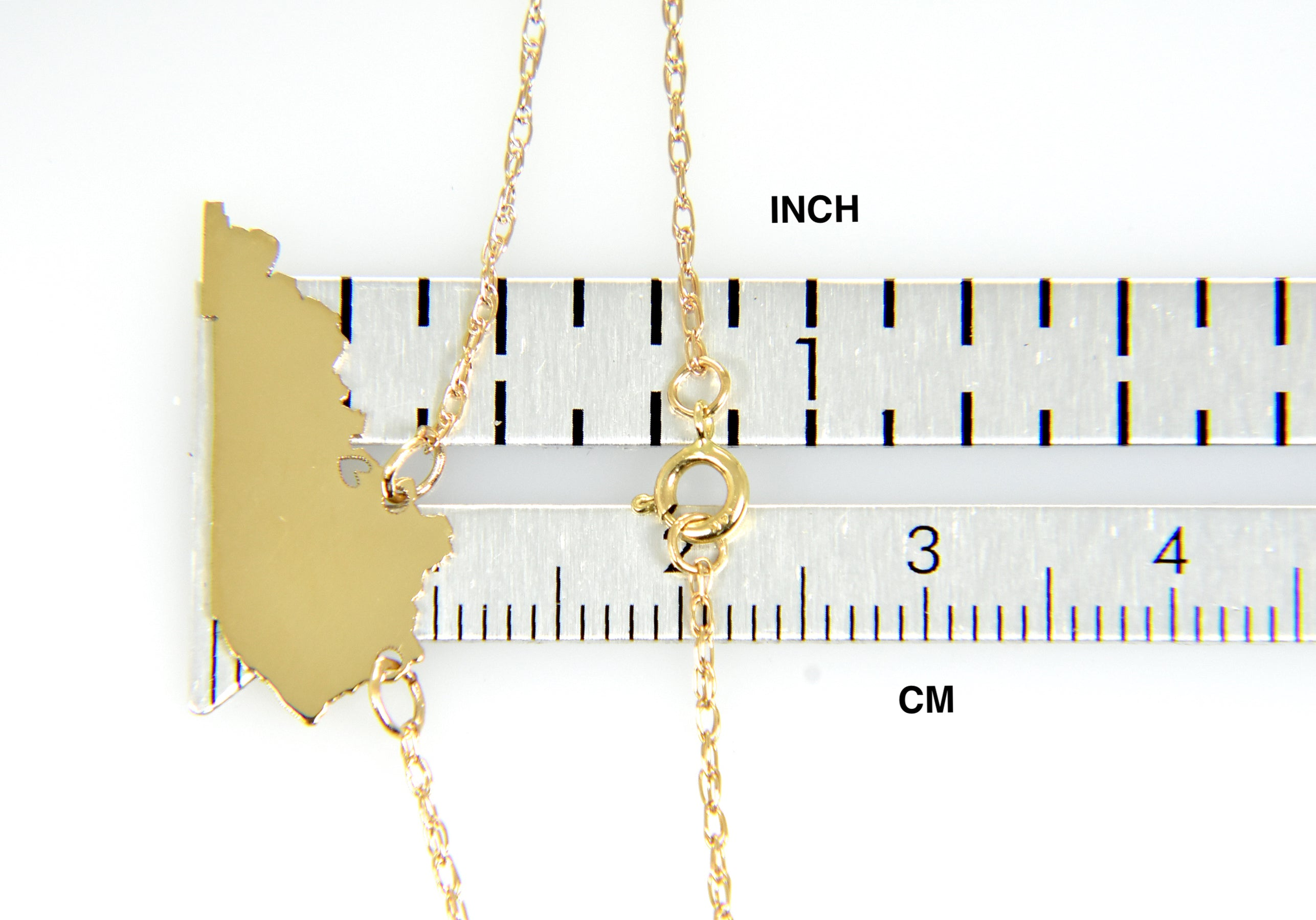 14k Gold 10k Gold Silver Kentucky State Map Necklace Heart Personalized City
