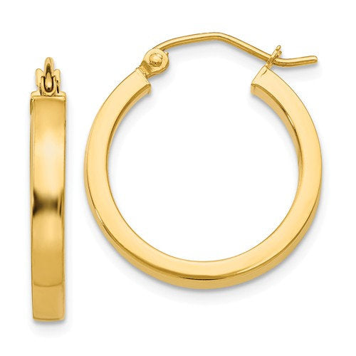 14K Yellow Gold Square Tube Round Hoop Earrings 19mm x 3mm