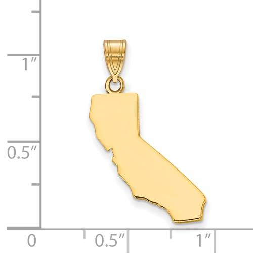 14K Gold or Sterling Silver California CA State Pendant Charm Personalized Monogram