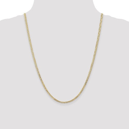 14K Yellow Gold 3mm Open Concave Curb Bracelet Anklet Choker Necklace Pendant Chain