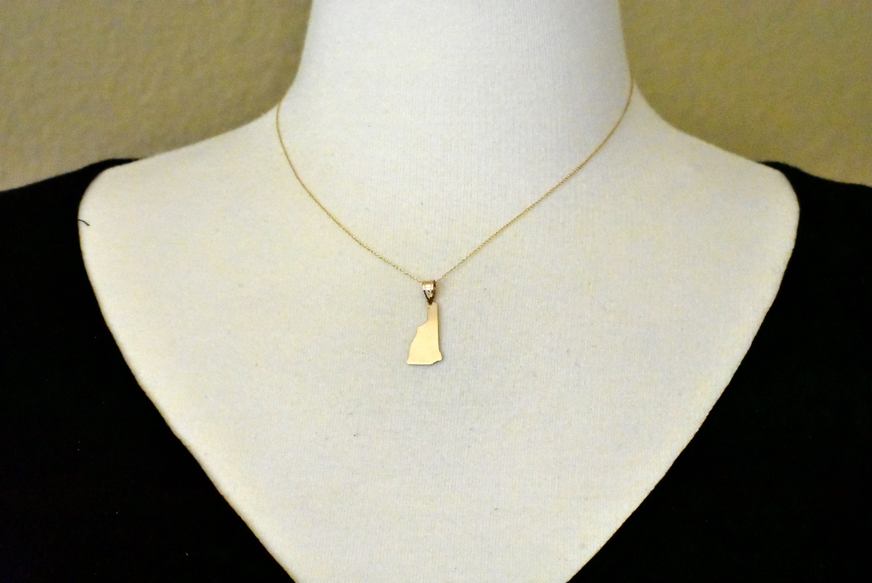 14K Gold or Sterling Silver New Hampshire NH State Map Pendant Charm Personalized Monogram