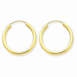 14k Yellow Gold Round Endless Hoop Earrings 17mm x 2mm