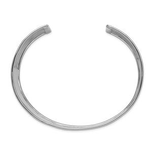 14K Solid White Gold 36mm Polished Hammered Cuff Bangle Bracelet