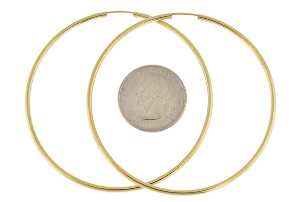 14k Yellow Gold Round Endless Hoop Earrings 64mm x 2mm