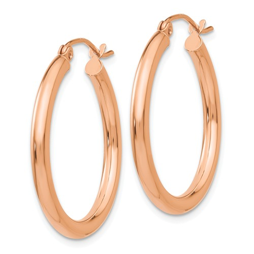 14K Rose Gold Classic Round Hoop Earrings 25mm x 2.5mm