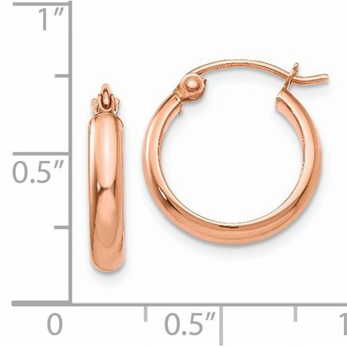 14K Rose Gold Classic Round Hoop Earrings 15mm x 2.75mm