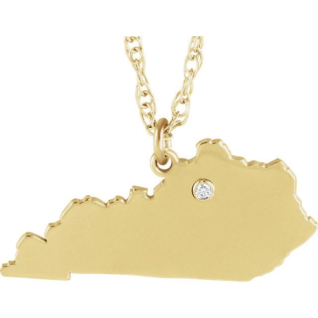 14k 10k Yellow Rose White Gold Diamond Silver Kentucky KY State Map Personalized City Necklace