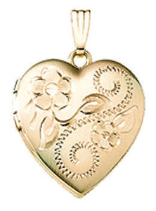 14K Yellow Gold 19mm Floral Heart Locket Pendant Charm Custom Engraved Personalized Monogram