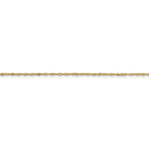 14k Yellow Gold 1.10mm Singapore Twisted Bracelet Anklet Necklace Choker Pendant Chain
