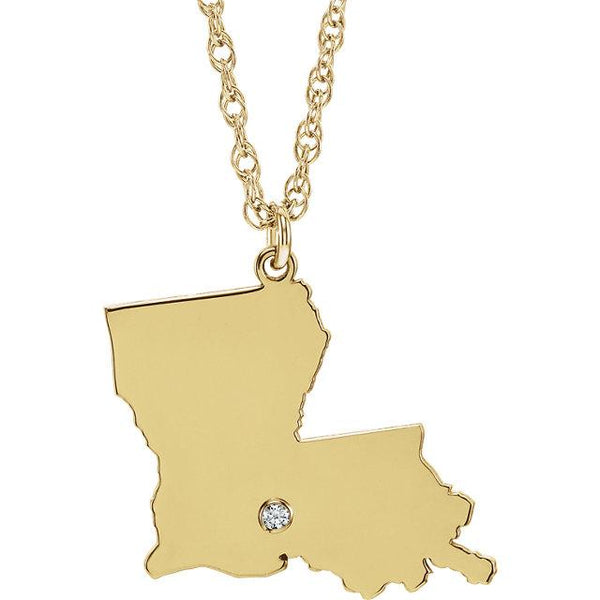 14k 10k Yellow Rose White Gold Diamond Silver Louisiana LA State Map Personalized City Necklace