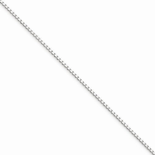 10k White Gold 1mm Box Bracelet Anklet Choker Necklace Pendant Chain Lobster Clasp