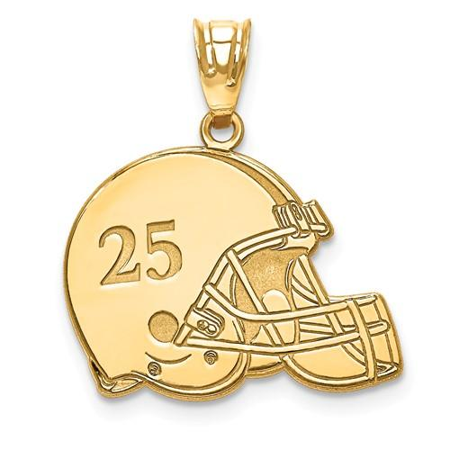 14k 10k Gold Sterling Silver Football Helmet Personalized Pendant