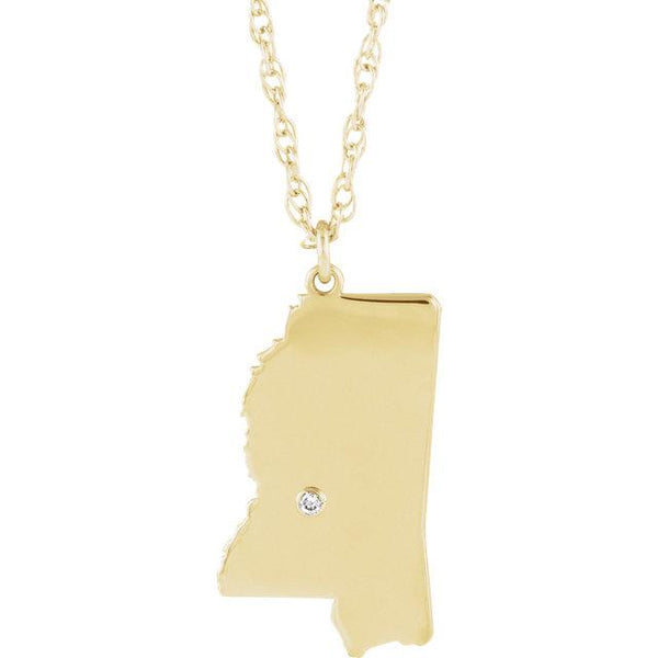 14k 10k Yellow Rose White Gold Diamond Silver Mississippi MS State Map Personalized City Necklace