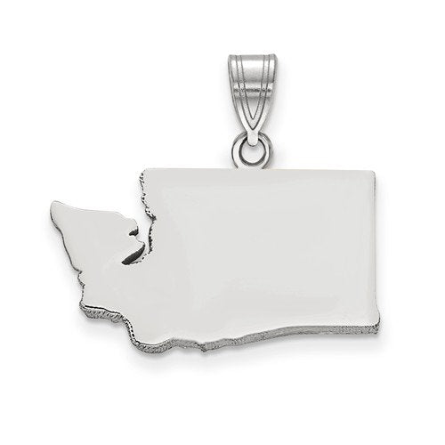 14K Gold or Sterling Silver Washington WA State Map Pendant Charm Personalized Monogram