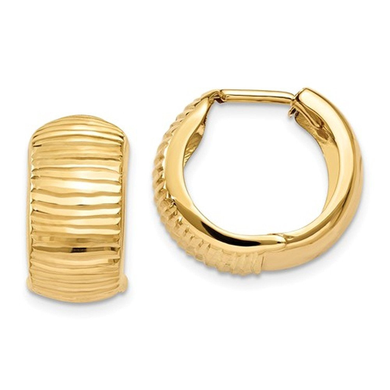 14k Yellow Gold Textured Huggie Hinged Hoop Earrings 15mm x 15mm x 7mm