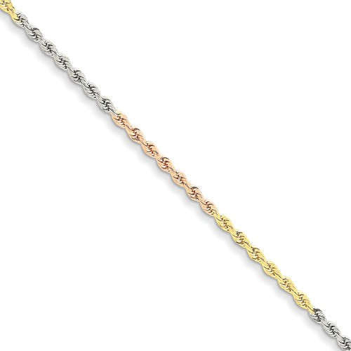 14K Yellow White Rose Gold Tri Color 2.5mm Diamond Cut Rope Bracelet Anklet Choker Necklace Chain